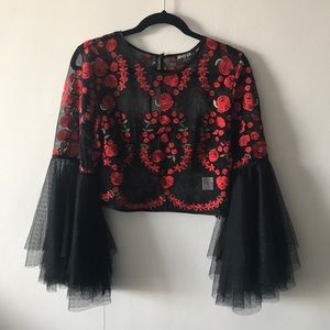 NastyGal Bell sleeve embroidered crop top